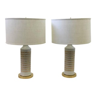 Italian Ceramic and Brass Table Lamps by Guido Bitossi - A Pair