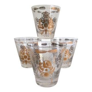 Vintage Mid-Century Briard Gold Leaf Pheasants Glasses - Set of 4