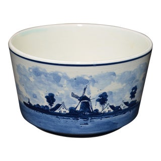 Delft Hand Painted Blue & White Bowl With Windmill and Ship