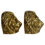 Image of Solid Brass Lion Head Bookends - A Pair