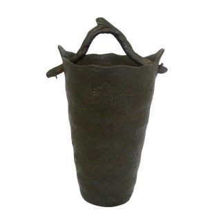 Vintage Wrought Iron Vase with Branch Handle