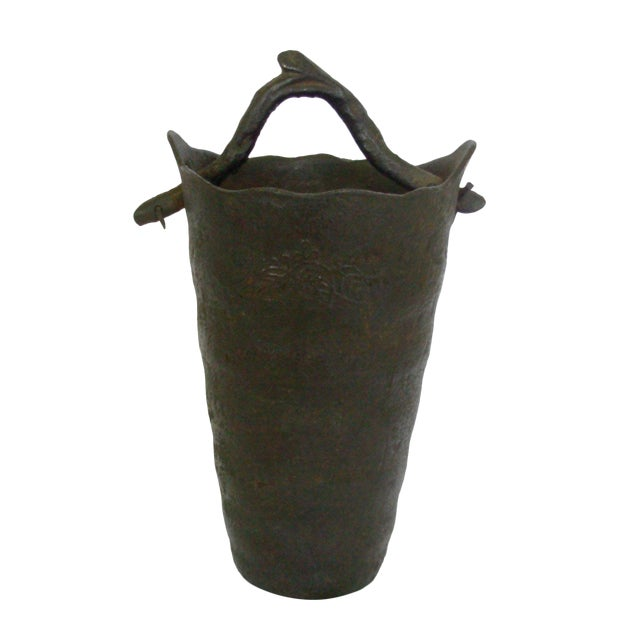 Image of Vintage Wrought Iron Vase with Branch Handle