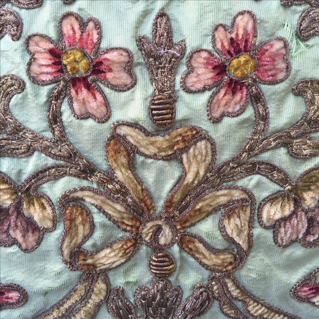 Metallic & Chenille Embroidered Pillows - Pair - Image 3 of 5