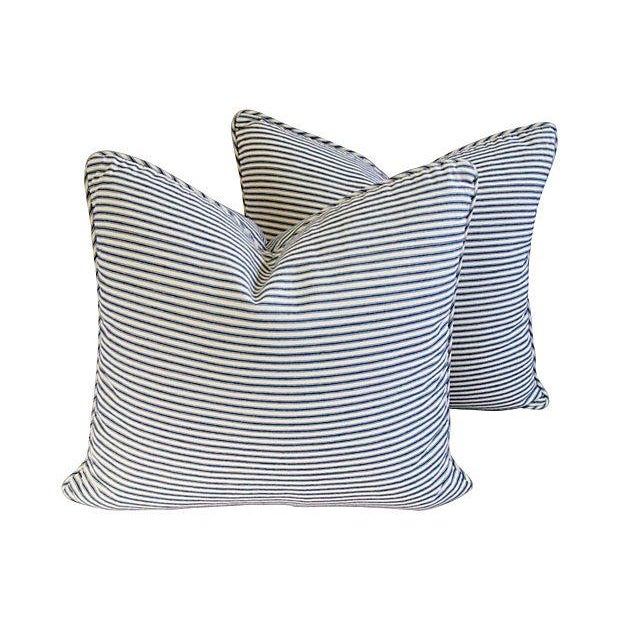 French Blue & White Ticking Pillows - A Pair - Image 1 of 7