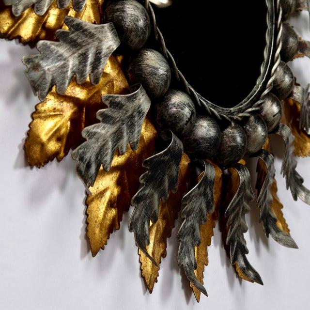 Pair Mid Century Spanish Gilt and Silver Metal Sunburst Mirrors - Image 9 of 9