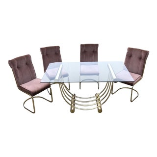 Blush Pink Geometric Dining Set - Set of 5