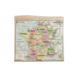 Antique Pull Down Map of France