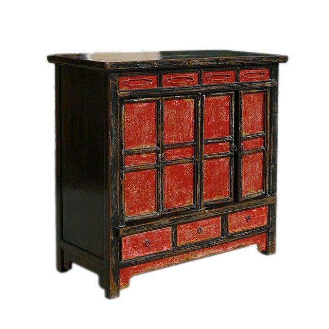 Chinese rustic black red console storage cabinet chairish for Asian console cabinet