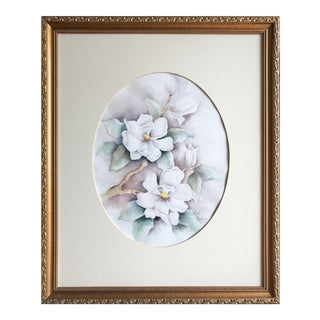 Magnolia Watercolor Painting by Cevolani