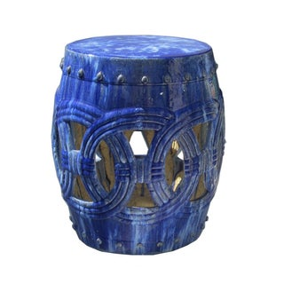Bright Blue Ceramic Clay Join Coin Round Stool