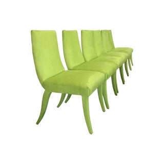 Mid Century Lime Dining Chairs - Set of 6