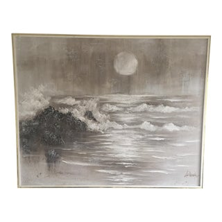 Extra Large- Lee Reynolds Mid-Century Ocean Waves Painting Signed