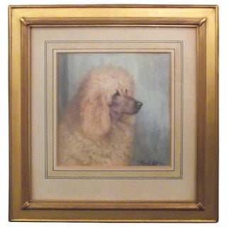Early 20th Century English Poodle Painting in a Gold Leaf Frame
