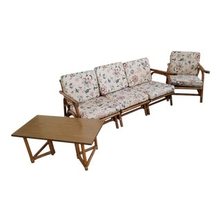 Mid-Century Rattan Milo Baughman Style Sofa Chair- Set of 3