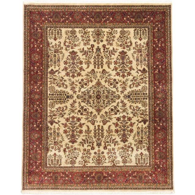 """Hand-Knotted Jamshidpour Indian Rug - 8' X 9'11"""" - Image 1 of 2"""