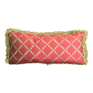 Elegant Red & Gold Silk Pillow