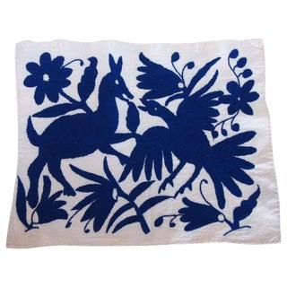 Otomi Embroidered Folk Art - Blue