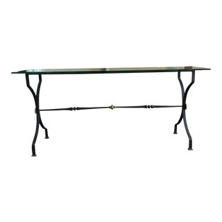 Wrought Iron & Glass Console Table