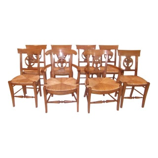 Carved Wood Dining Chairs With Woven Rattan Seats- Set of 8