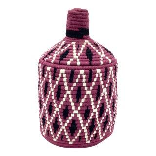 Purple and Black Moroccan Wool Basket