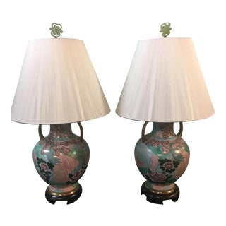 Pair of Vintage Asian Hand Painted Porcelain Table Lamps