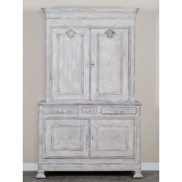 Antique French Painted Oak Louis Philippe Buffet a Deux Corps Cabinet circa 1850 - Image 2 of 11