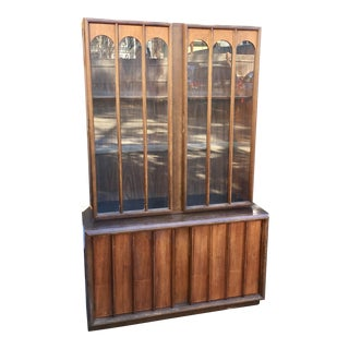 Keller Mid-Century Walnut & Glass Colonnade Hutch
