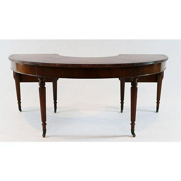 Mahogany & Leather Demilune Table - Image 4 of 9
