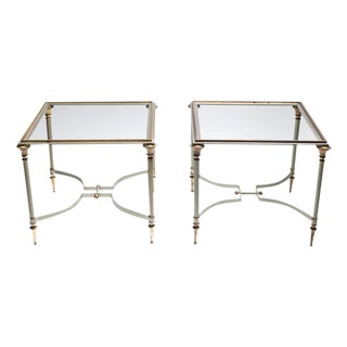 Maison Jansen Steel and Brass Tables - Pair