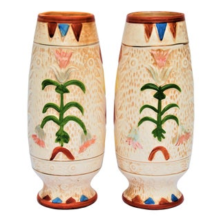 Pair of Hand Painted Vintage Arts and Crafts Style Vases by Pacific