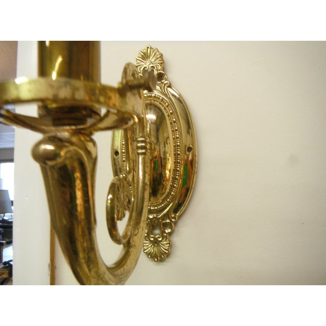 Vintage Brass Electric Wall Sconces - Pair - Image 4 of 8
