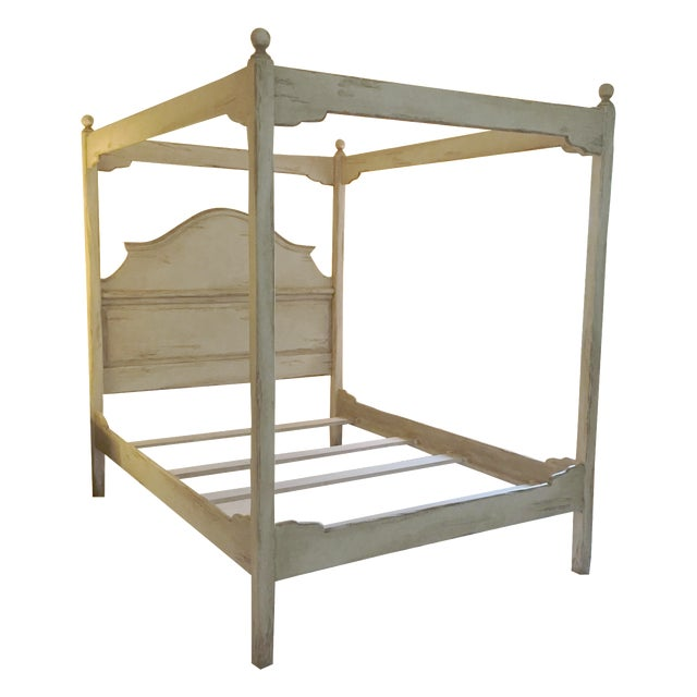 Farmhouse collection queen size canopy bed frame chairish for Farmhouse bed frame plans