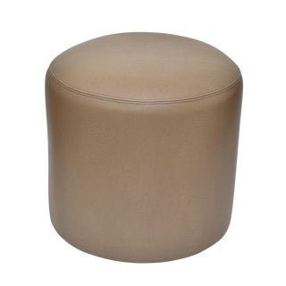 Original Round Shagreen Leather Ottoman
