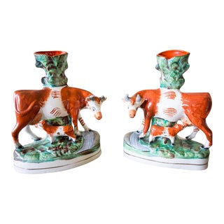 Antique Staffordshire English Victorian Spill Cow & Calf Vases - A Pair