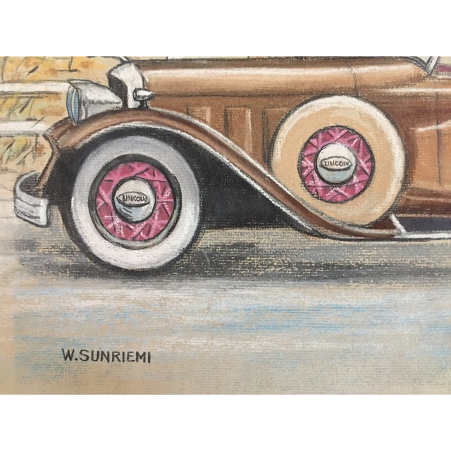 Original Vintage 1950's Pastel Lincoln Car Drawing - Image 5 of 6