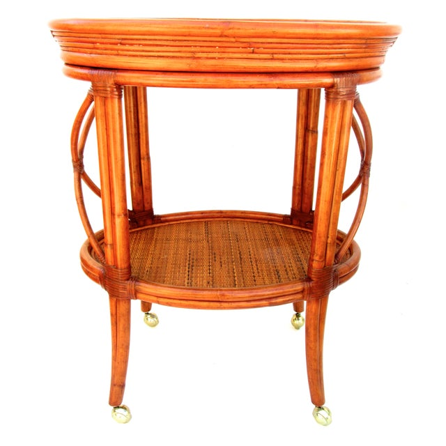 Vintage Ethan Allen Bamboo Rattan Bar Cart - Image 1 of 8