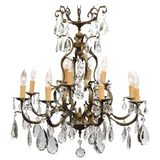 French Antique Louis XIV Bronze & Crystal Chandelier