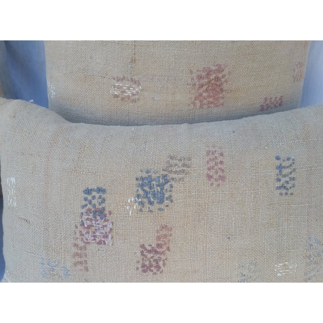 Antique Darned Repaired Grain Sack Pillows - Image 3 of 3