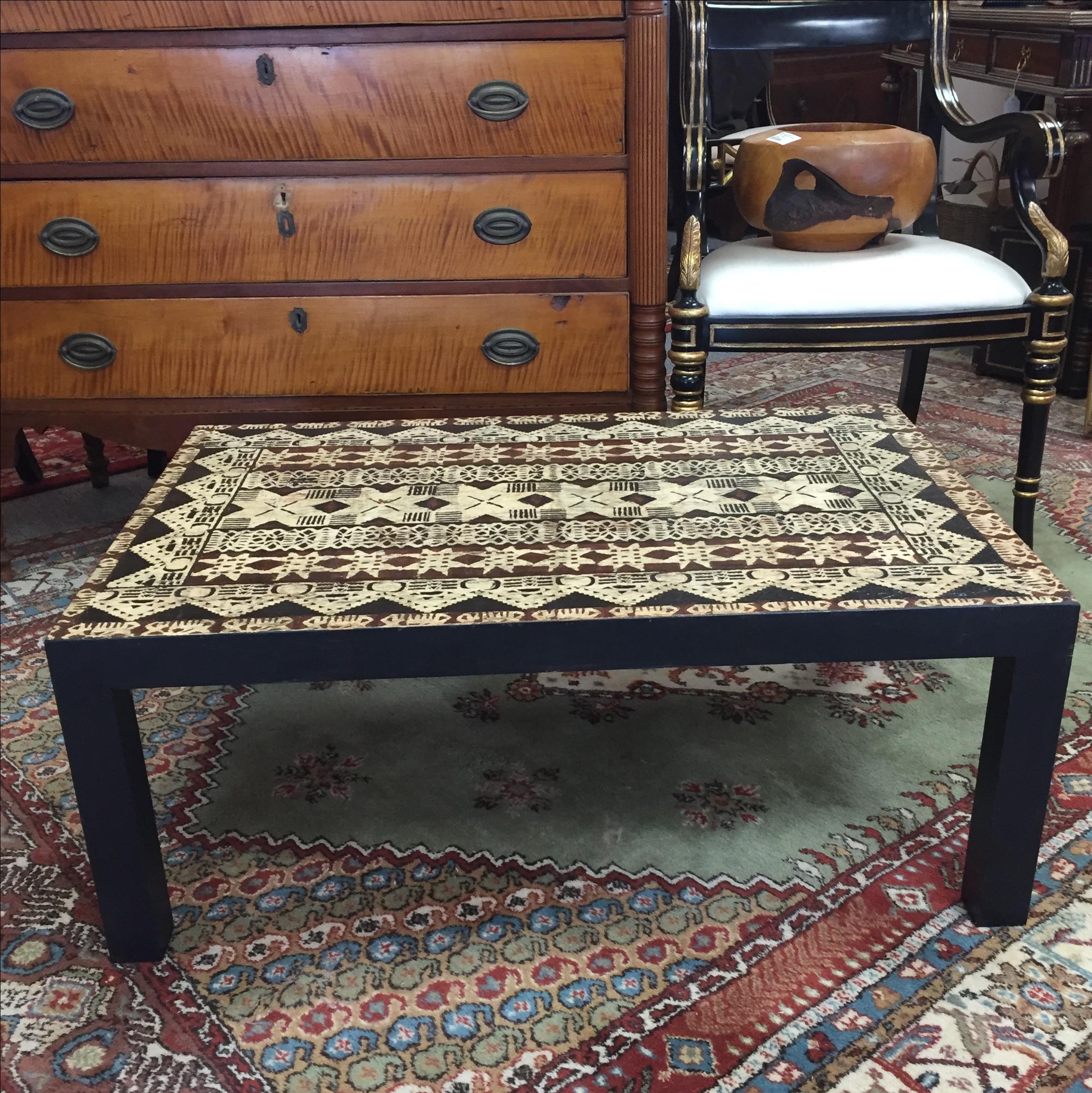 polynesian furniture. polynesian tapa cloth coffee table image 2 of 7 furniture