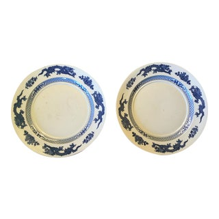 Blue & White Dragon Motif Chargers - A Pair