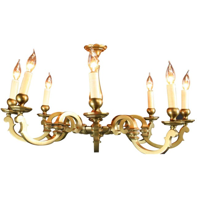 Image of Vintage 1950 French Brass 8-Arm Chandelier