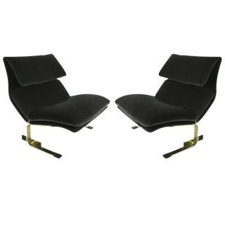 Pair of Bronze Onda Lounge Chairs by Saporiti Italia
