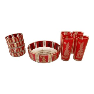 "Culver Mid-Century Red & 22k Gold ""Thai Goddess"" Drinks - Set of 9"