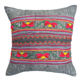 Vintage Gray Batik Pillow With Embroidered Flowers