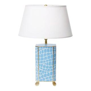 Dana Gibson Blue Crocodile Pattern Lamp