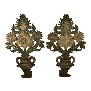 Continental Tôle Peinte Bouquets in Urns - a Pair