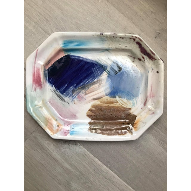 Vintage Pinks and Blues Hand-Painted Platter - Image 4 of 4
