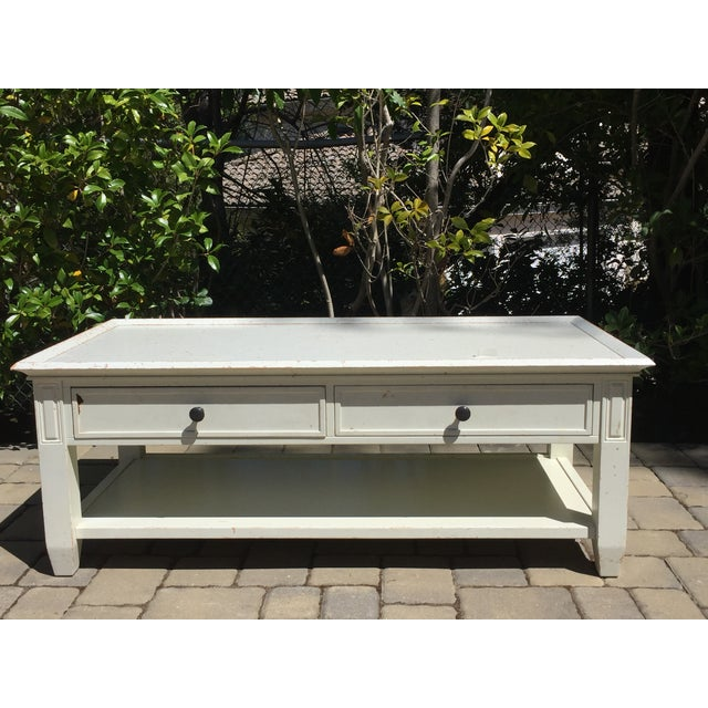 Pottery Barn Distressed White Coffee Table Chairish