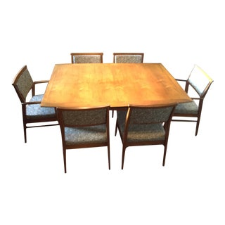 Mid-Century Modern Dining Set With 6 Chairs