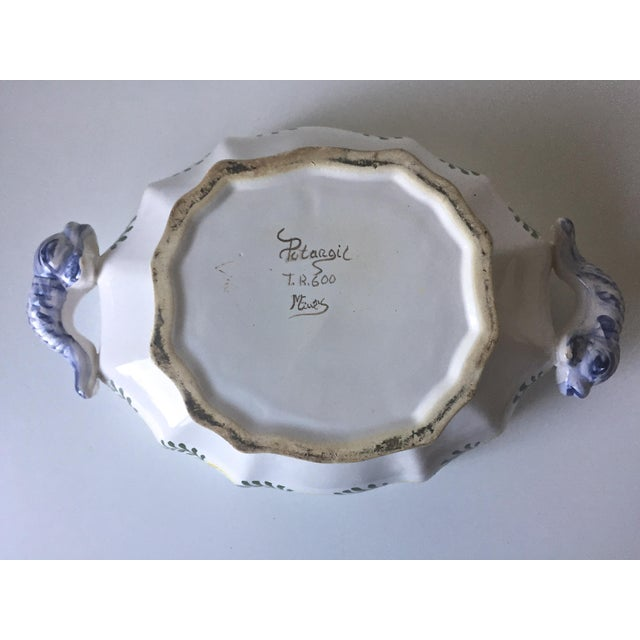Vintage Faience Dolphin Handle Tureen - Image 5 of 7